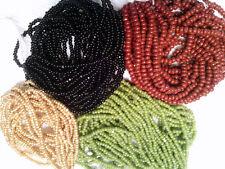 Vtg 4 partial hanks CHARLOTTE BEADS black brown gold green AB 032018l