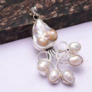 "Biwa Pearl Ethnic Handmade Pendant Jewelry 2.88"" AP 44462"
