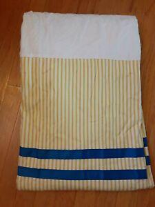 "Waverly Charmed Bedskirt Dust Ruffle King Yellow Stripe Blue Ribbon 16"" Drop"