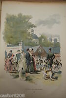 Kunstblatt Farbig Au Schloss Hunde Transportbox Stein Vidal Typogravure 1885