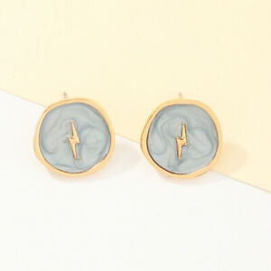Exquisite Europen Simple Gold Plated Oil Drop Gray Round Drop Earring Party Gif