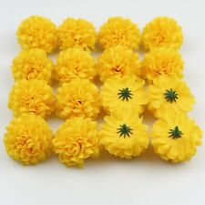 "50Pcs 2"" Yellow Hydrangea Silk Artificial Flower Head Bulk Wedding Fake Flowers"