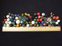 LOT OF 77 ANTIQUE VINTAGE MARBLES OPAQUE SWIRL SHOOTER AKRO AGATE (50)