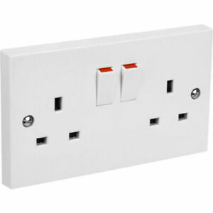 Double Electric Mains Wall Socket Twin 2 Gang Plug Outlet Switched Square Edge