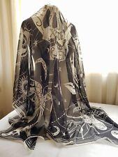 New Alexander McQueen Scarf Zodiac Skull Scarf Black/White