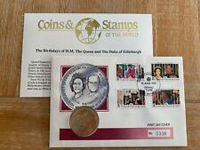 TURKS & CAICOS 1991 FDC COIN 1 CROWN QUEEN ELIZABETH 2 PRINCE PHILIP ROYALTY