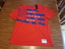 NWT $34.50 Tommy Hilfiger Denim Men's RED & BLUE T-Shirt Graphic Tee Flag LARGE