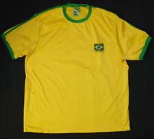 Mens Braziline Soccer Football Tee Shirt Brazil Large Poly Short Sleeve H60
