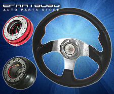 1996-2000 Civic 320mm Black Steering Wheel + Adapter Hub + Quick Release Red