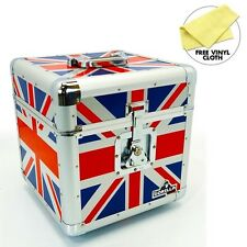 "Gorilla LP 100 12"" Vinyl Record Storage Box Flight Carry Case Holds UNION JACK"