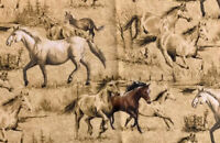 Cranston Print Works Horse Brown Cotton Fabric Quilting 40 X 110