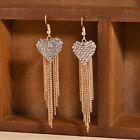 Silver Earrings Linear Stunning Womens Tassels Rhinestone Drop Dangle Long Hook