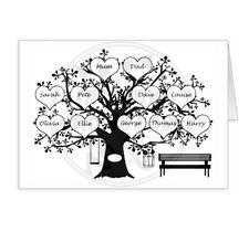 Personalised Family Tree Greetings Card. Anniversary. Mothers day keepsake card