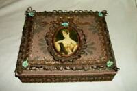 FRENCH PASSEMENTERIE FABRIC SEWING VANITY BOX ORMOLU PORTRAIT ANTIQUE SILK ROSES