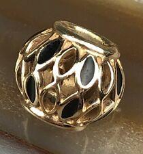 Signed ALE PANDORA 14k Gold Black Enameled Filigree Barrel Bracelet Charm NR PJL