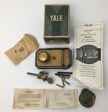 Yale Deadlatch Lock Vintage NOS No. 52 Morim Art Deco Complete w Key USA