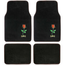 Custom Design Carpet Floor Mats, 4 PC Car Accessories for Girls, Red Rose Flower