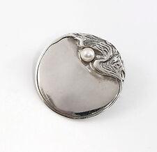 9901522 925er Silber Jugendstil Brosche mit synthetischer Perle