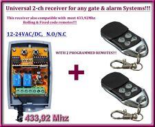 Universelle 2-canaux rolling code 433,92 MHz récepteur 12-24V + 2 télécommandes.