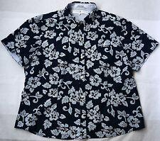 Tommy Hilfiger Women`s Button-Down Shirt Short Sleeve Blouse Top M Cotton Floral