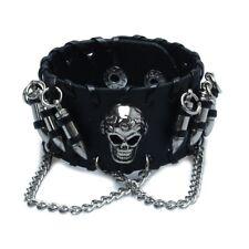 Black Men's Gothic PU Leather Bullet Skull Chain Wristband Bracelets for Me T1O8
