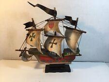 Vintage Wooden Sail Boat Model Ship Mayflower? Red Green Black Cross Taiwan Made