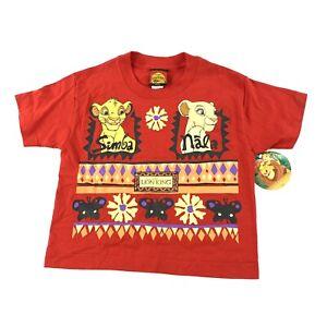 Vintage 90s Kids Short Sleeve Single Stitch T Shirt Lion King Simba Nala Red