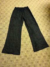 THREE DOTS Black Solid Linen Casual Elastic Waist Straight Leg Pants Sz L HH1745