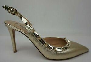Valentino Rockstud Metallic Gold Slingback Pumps Heels Size 39 EU/ 9 US