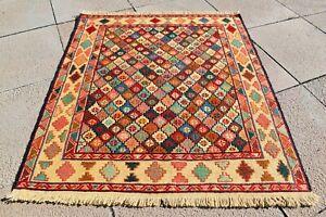 Genuine Wool Soumak Kilim 2'7x3'1 ft Caucasian Wonderful Soumak Woven Kilim Rug