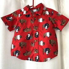 Old Navy Button Up Shirt Buffalo Print Red 12-18M