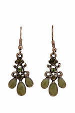 Green Crystal Drop Dangle Earring Fish Hook Back