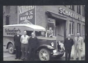 REAL PHOTO SPRINGFIELD OHIO SCHAEFER'S BAKERY DELIVERY TRUCK POSTCARD COPY