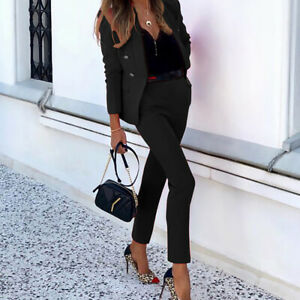 Women OL Suit Blazer Coat + Skinny Pant Set Ladies 2Pcs Ladies  Office Outfits