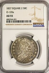 1827 Square 2 50C Capped Bust Half Dollar NGC AU55 O-120a Variety