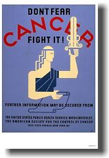 Don't Fear CANCER Fight It! - NEW Vintage WPA Medical POSTER