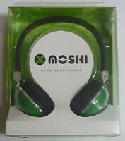 Moshi Neon GREEN DOME HEADPHONES  NEW earphones ear/head phones music/mp3 stereo