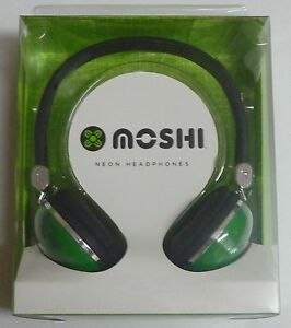 Moshi Neon GREEN DOME HEADPHONES  NEW earphones ear/head phones music/mp3 stereo