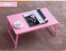 Pink Folding Laptop Desk Folding Bamboo Bed Tray Notebook Food Table Platter