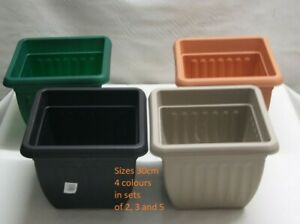 Plastic Square Planter 30cm & 40cm Plant Pots Green Grey Stone Terracotta Pots