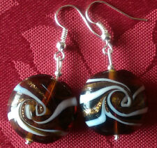 Lampwork drop dangle, silver plated earrings , brown/gold/white. 20mm , (56)