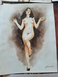 Original Aquarell Akt Zeichnung (A3,30x40 cm) - Akt, nu, nude, Erotik Akt