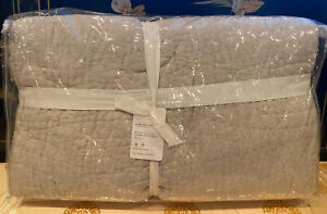 NEW Pottery Barn KING/CAL Belgian Flax Linen Hand-Stitched Quilt ~ SOFT GRAY