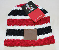 Jim Beam Mens White Black Red Stripe Cable Knit Acrylic Beanie One Size New