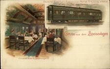 Gruss Aus Dem Speisewagen RR Train Interior/Exterior c1905 Postcard