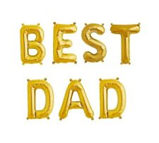 """BEST DAD Letter Balloons - 16"""" Gold - Best Dad - Fathers Day - US SHIP"""