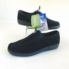 Grasshoppers Stretch Plus Zip Suede Black Comfort EH35455