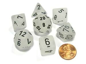 Polyhedral 7-Die Frosted Chessex Dice Set - Clear with Black Numbers
