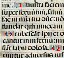 ILLUMINATED MANUSCRIPT CHOIR PSALTER LEAF c.1520 Spain - 12 INITIALS, PSALM 30