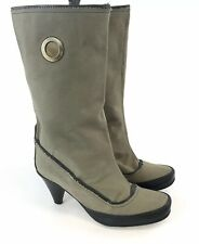 Fly London Size 39 / UK6  Ladies Khaki Black Mid Calf Pull On Booties Boots